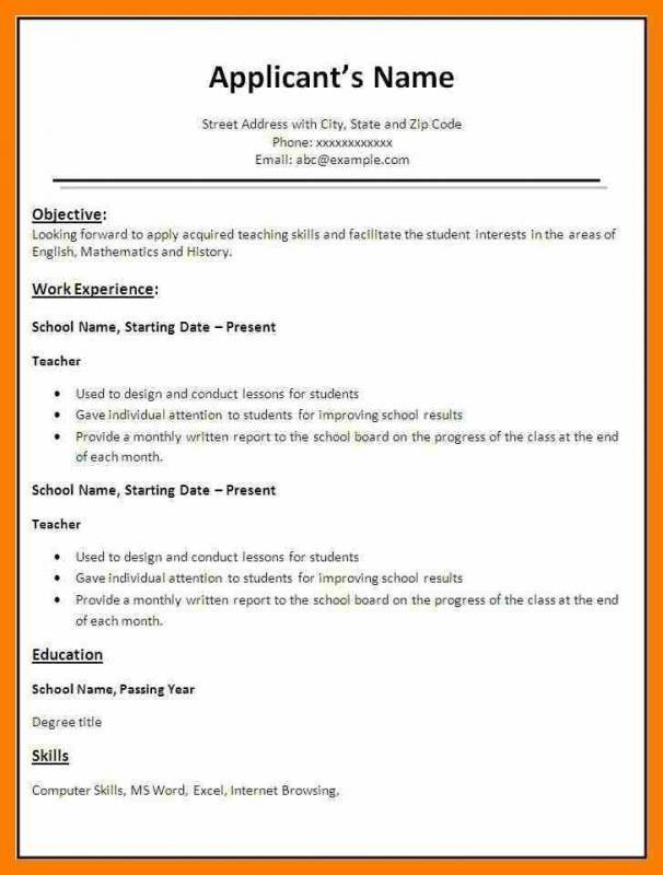 Simple Resume Format In Word template Pinterest Simple resume