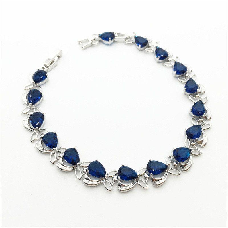Flower Shaped Sterling Silver Women Bracelets Water Drop Montana Blue Jewelry For women Christmas Gift Free