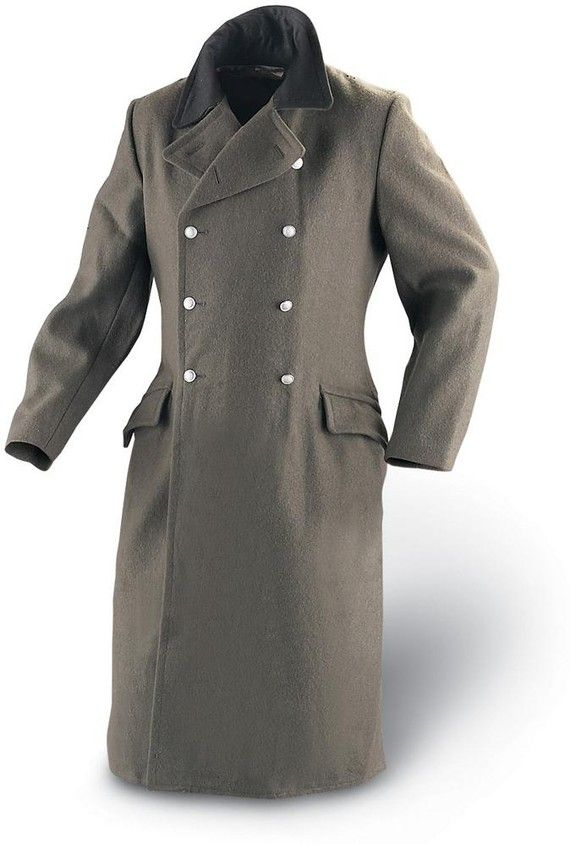 Military Style Vintage East German, German Army Ww2 Trench Coat