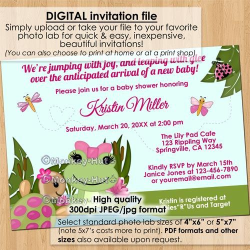 Girl hippity frog baby shower invitations pink girls frogs turtle frog baby shower invitation digital blue green pink by monkeyhut 1600 filmwisefo Images