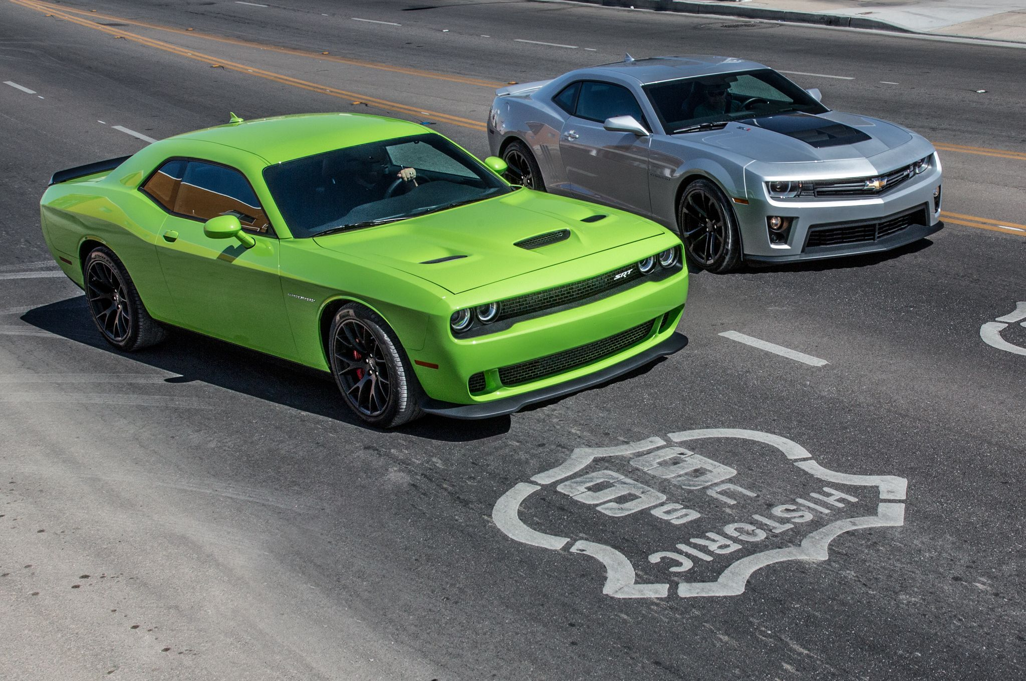 This is it motor trend is comparing the 2015 dodge challenger srt hellcat to the