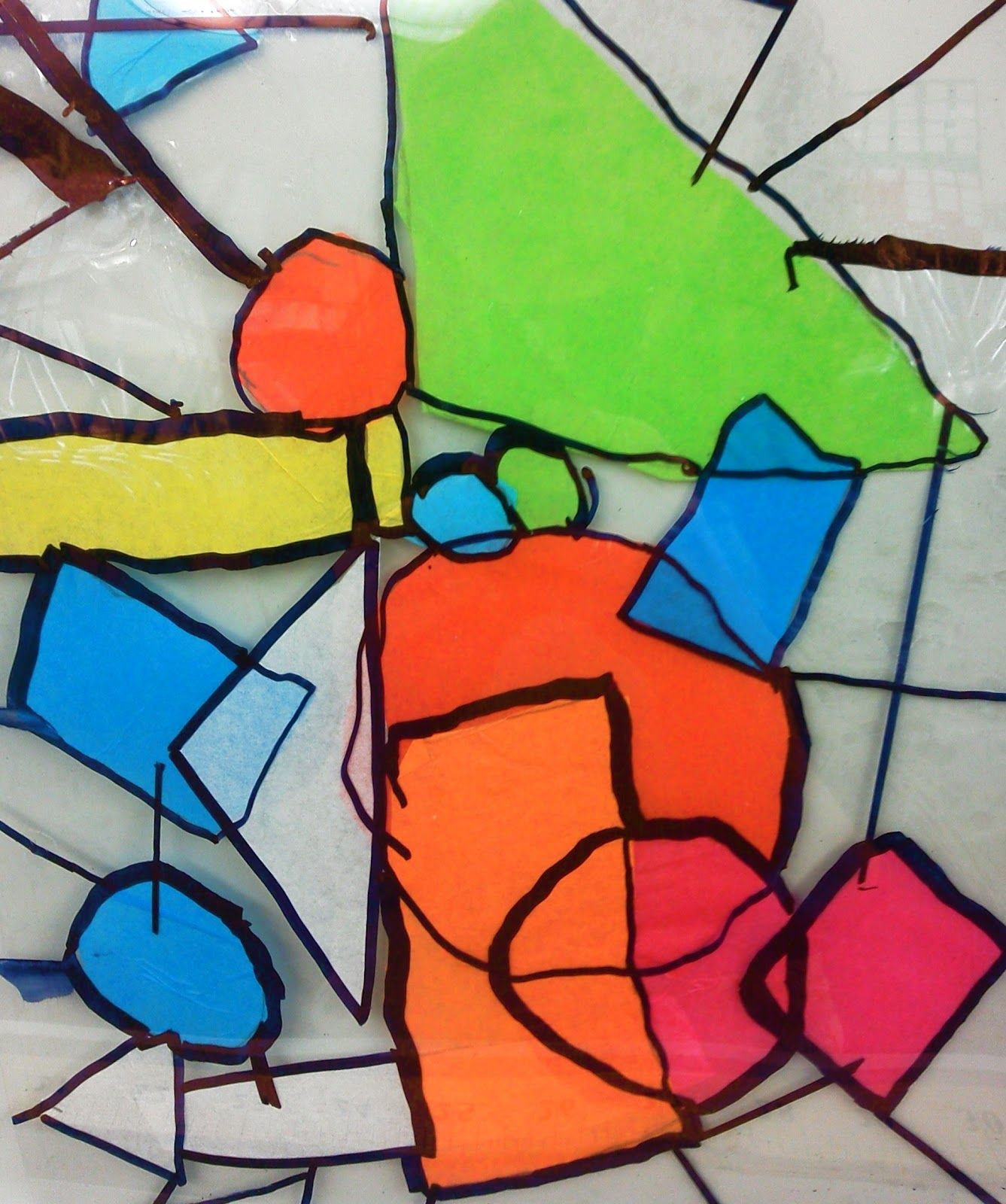 Stained Glass with TISSUE PAPER, self-sealing laminate sheets, and ...
