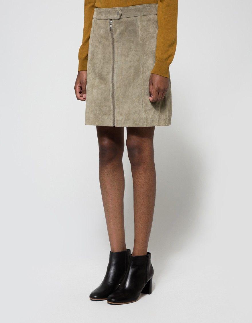 Fer Zip Skirt in Green