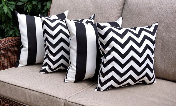 Black And White Striped Patio Cushions Palm Print And Blush Pink Outdoor Pillows How To Decorate Your P Patio Cushions Patio Cushions Outdoor Patio Pillows