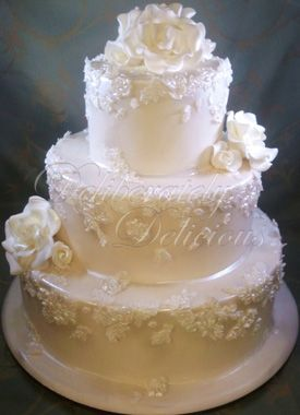 Gold Ruffle And Lace Wedding Cakes