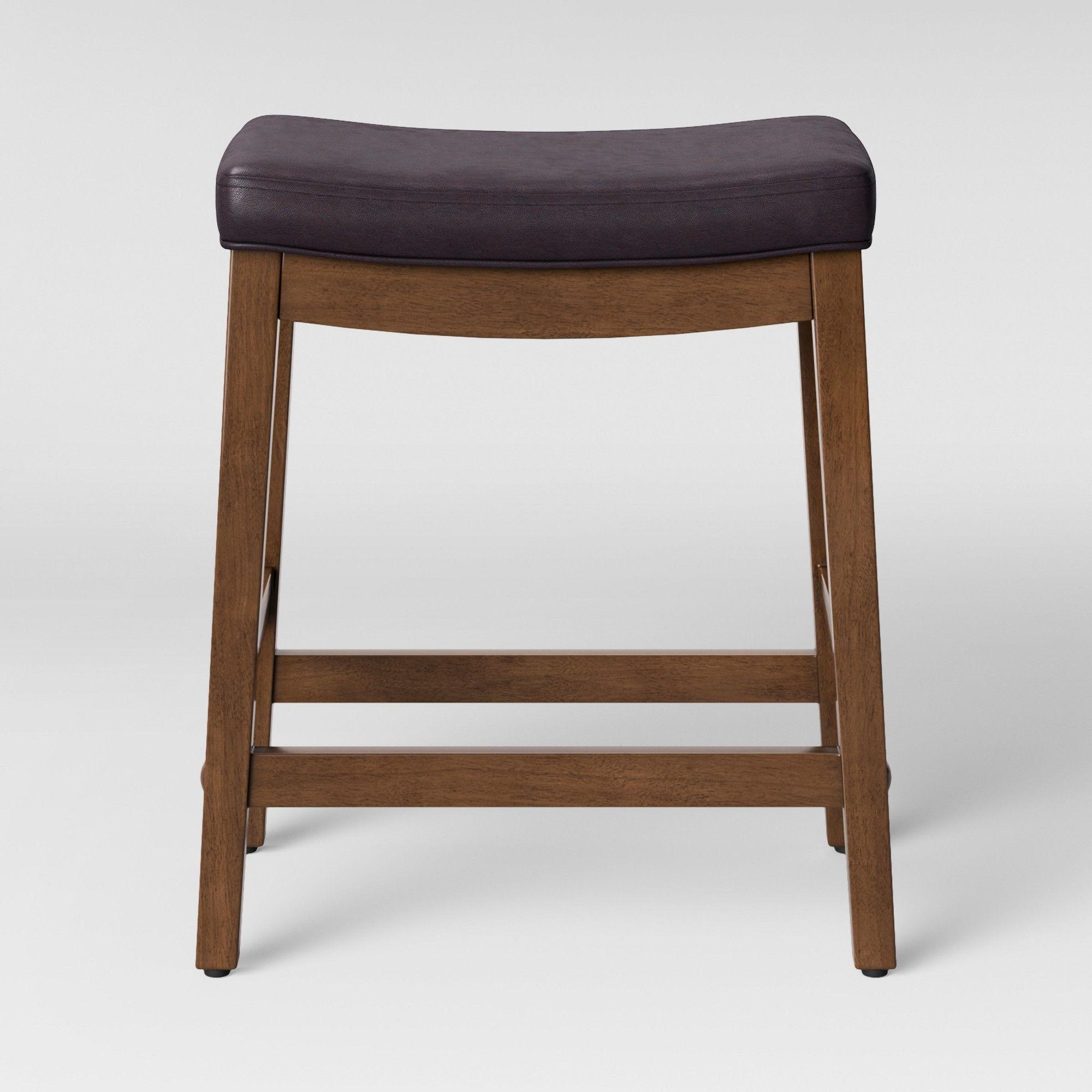 Belvidere Faux Leather Saddle Counter Stool Espresso Faux