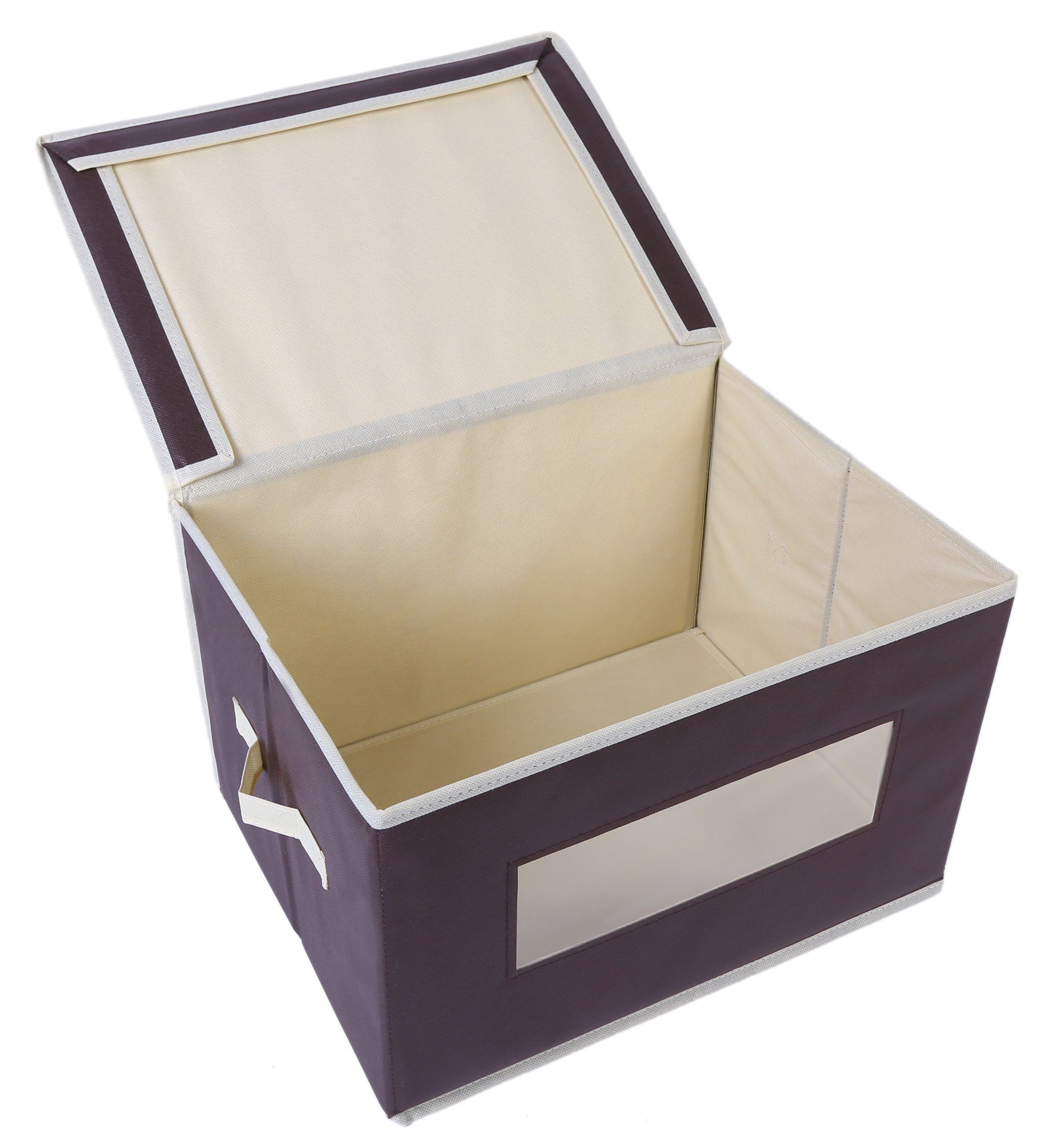 Foldable Fabric Storage Containers Bins Organization Cube Boxes With Clear Windows And Lids For Household It Organizing Bins Fabric Storage Household Items