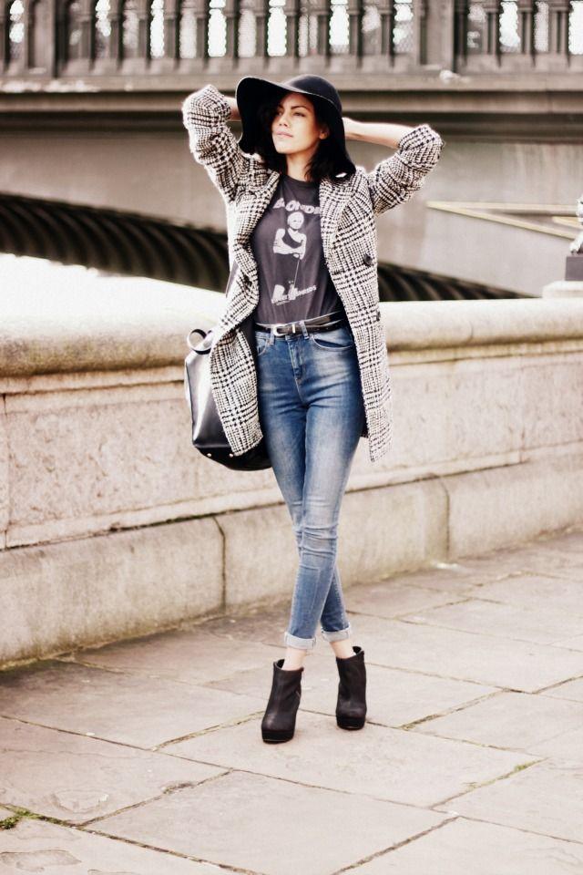 Jeans, Asos, £30 - Kurt Geiger boots, c/o Harrods - Top, TKMaxx, £15 - Belt, charity shop, £1.99 - Coat, c/o F&F - Bag, c/o Folli Follie