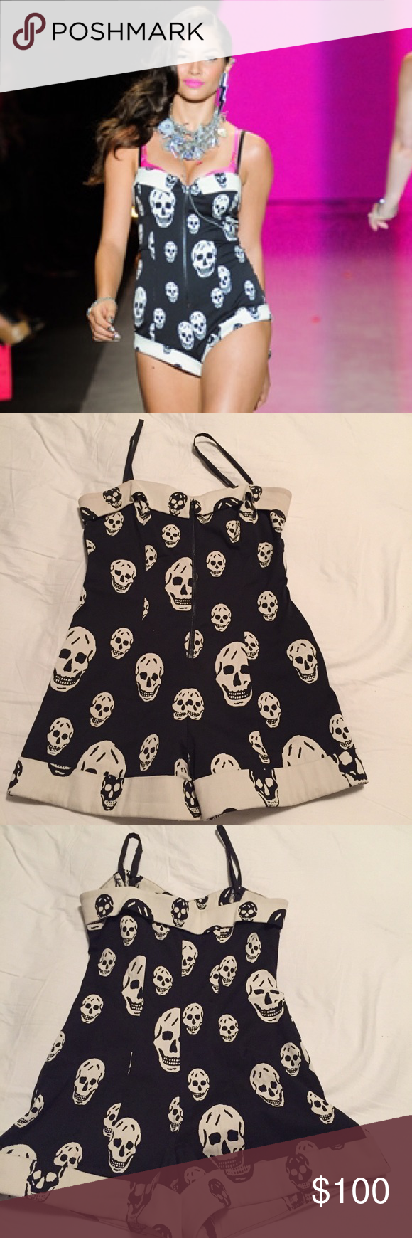 79f371b3bb60 Betsey Johnson Skull Romper WOOHOO!! This is the BEST ROMPER EVER! Black  and white RUNWAY skull romper from Betsey Johnson. Zipper front