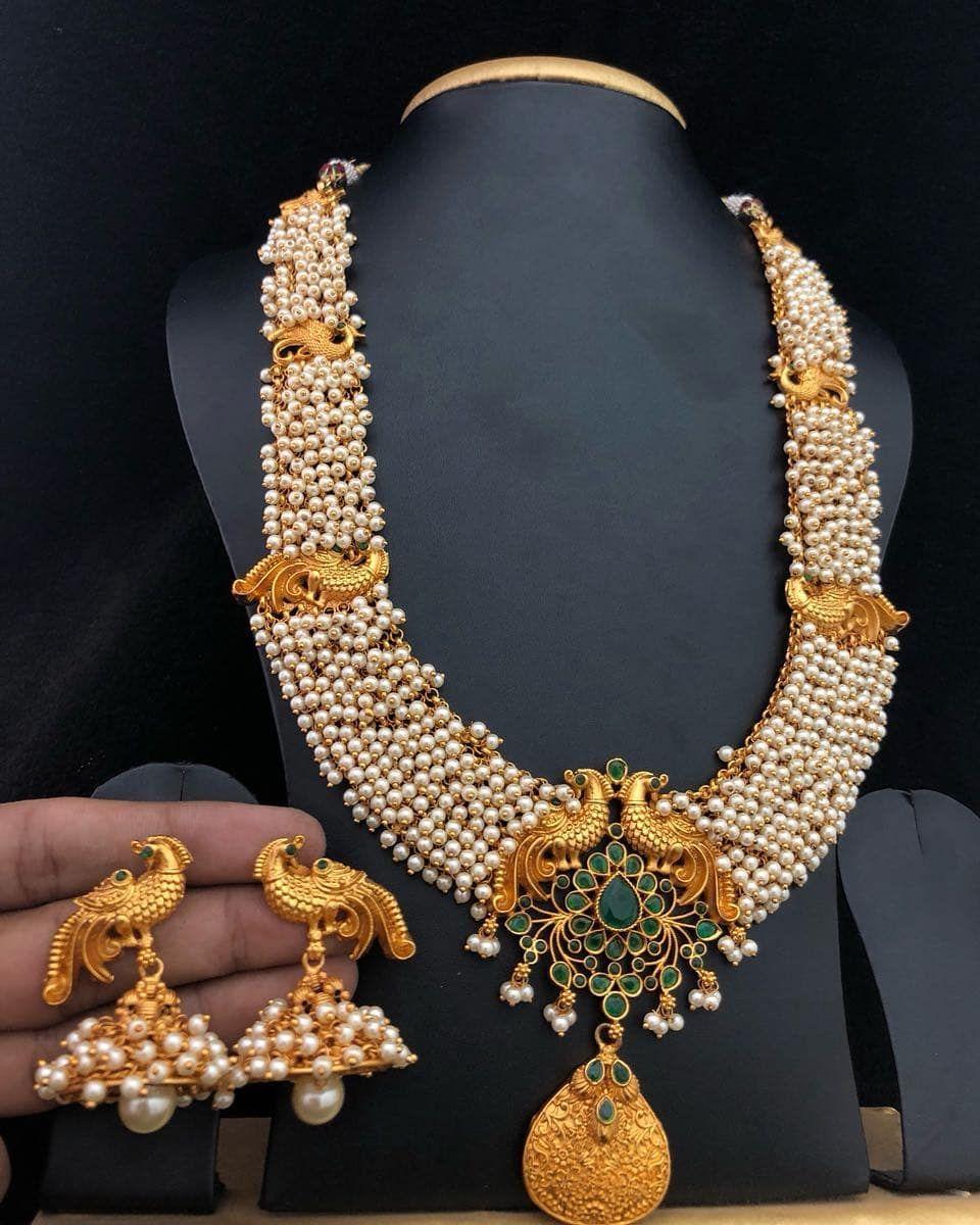 96b867c6f4cc Beautiful Pearl Peacock Necklace Gold Jewellery Design