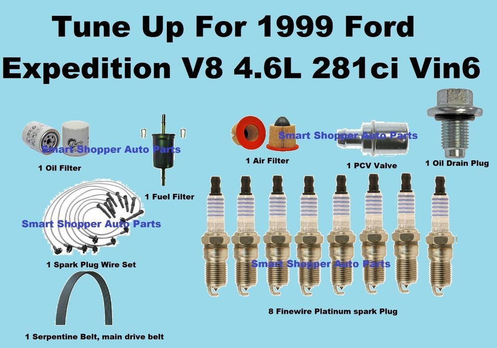 Tune Up Kit For 1999 Ford Expedition Vin6 Spark Plug Wire Set Belt Engin Filter Ford Expedition Spark Plug Plugs