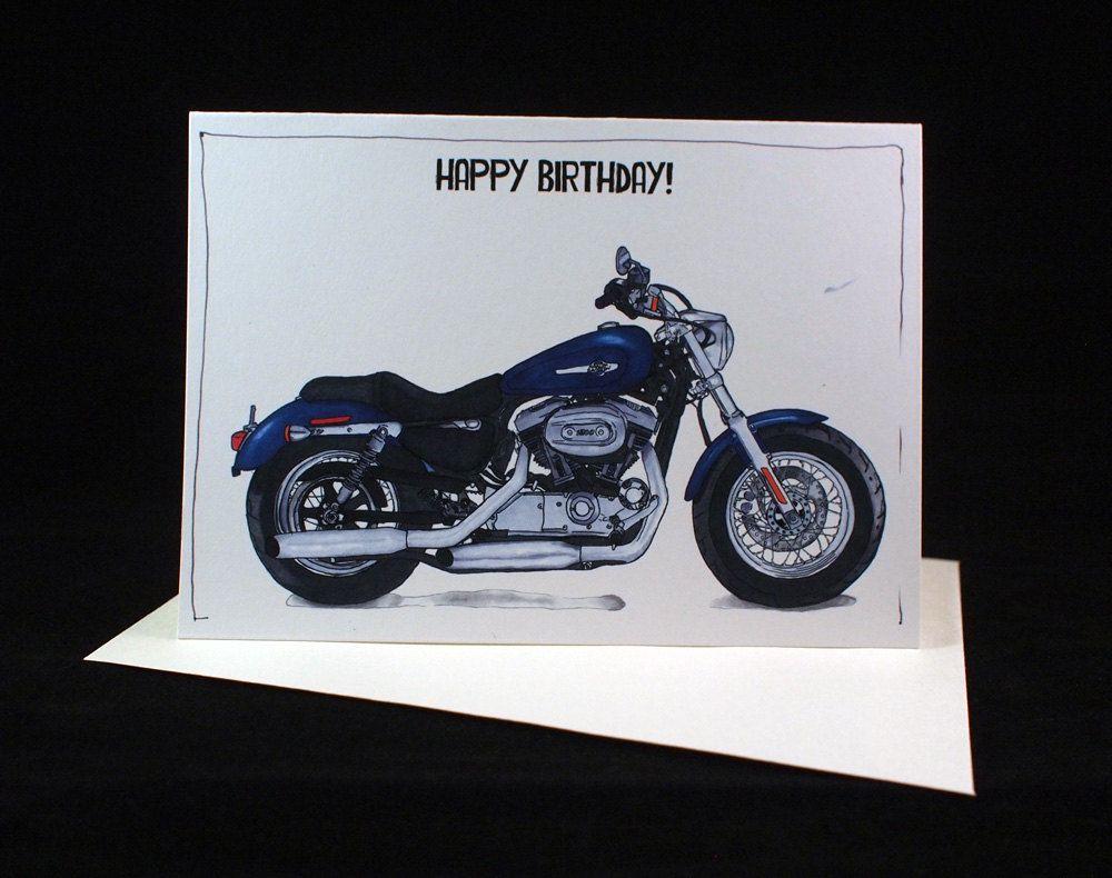 Motorcycle Birthday Card Harley Davidson Sportster 1200 – Free Printable Harley Davidson Birthday Cards