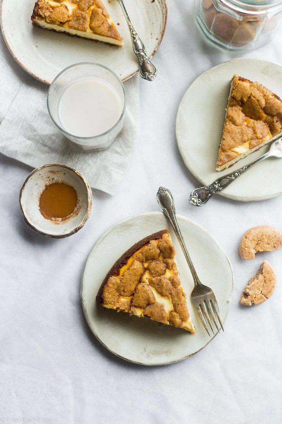 Gluten-Free Snickerdoodle Greek Yogurt Cheesecake | Food Faith Fitness