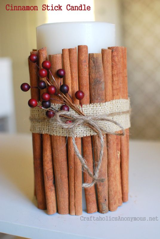 Candle With Cinnamon Sticks With Images Cinnamon Stick Candle
