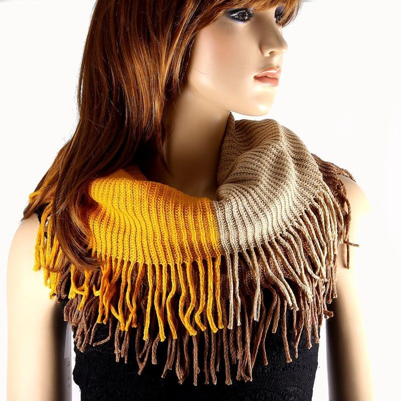 Knit Infinity Scarf With Fringe Knit infinity scarf