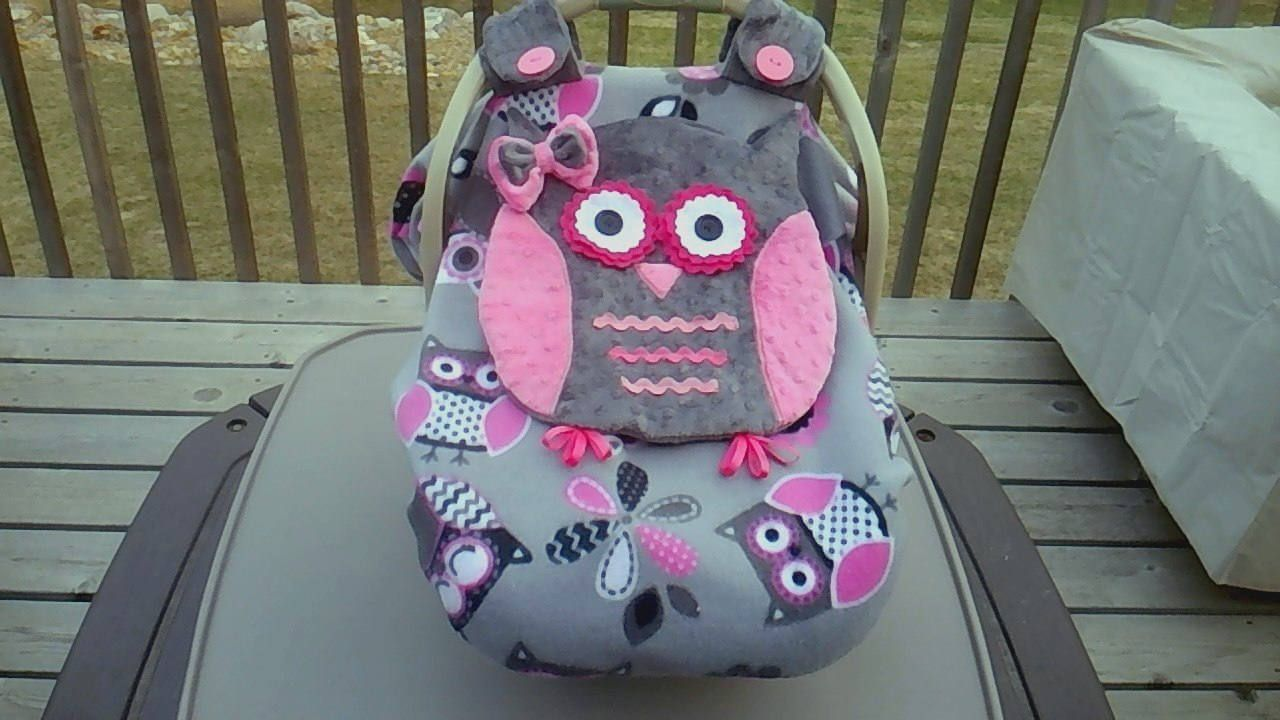 Made To Order Girls Fitted Fleece Owl Car Seat Canopy With Peek-A--Boo Opening Completion Time Two To Three Weeks & Made To Order Girls Fitted Fleece Owl Car Seat Canopy With Peek-A ...