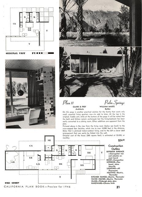 John Porter Clark Albert Frey Plan 11 California Plan Book 1946 Architectural Prints Vintage House Plans Plan Book