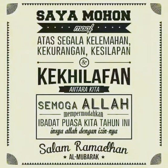 Kata2 Ucapan Maaf Menjelang Ramadhan