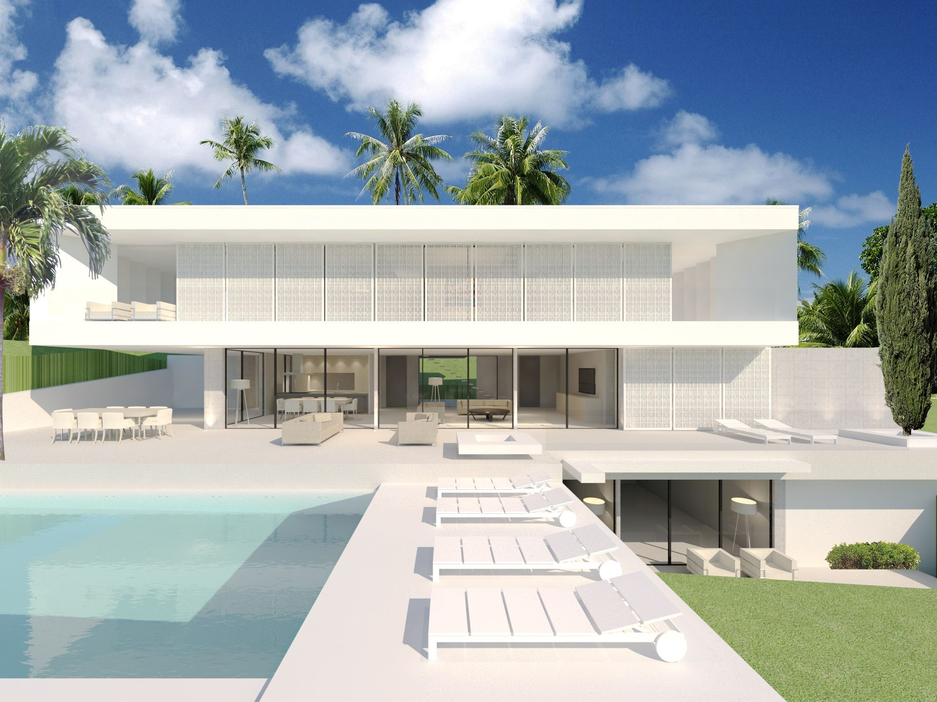 A New Version Of The Sliding House By Modern Villas For A Danish Client In La Alqueria Marbella Modern Villa Design Villa Design Beautiful Villas