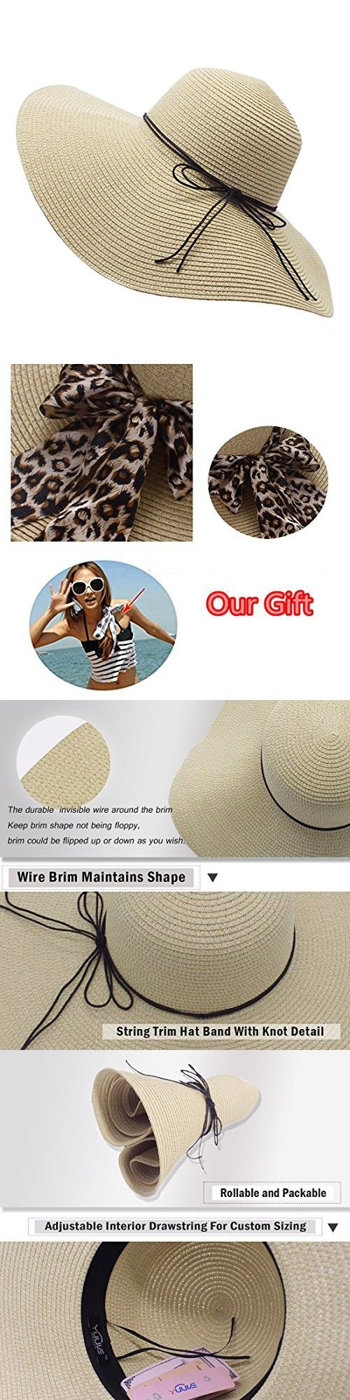 YUUVE Ladies Summer Straw Hat Fedora Floppy Sun Hat Large Wide Brim Beach  Cap For Women(Free Ribbon Gift) 3e4597491e6e
