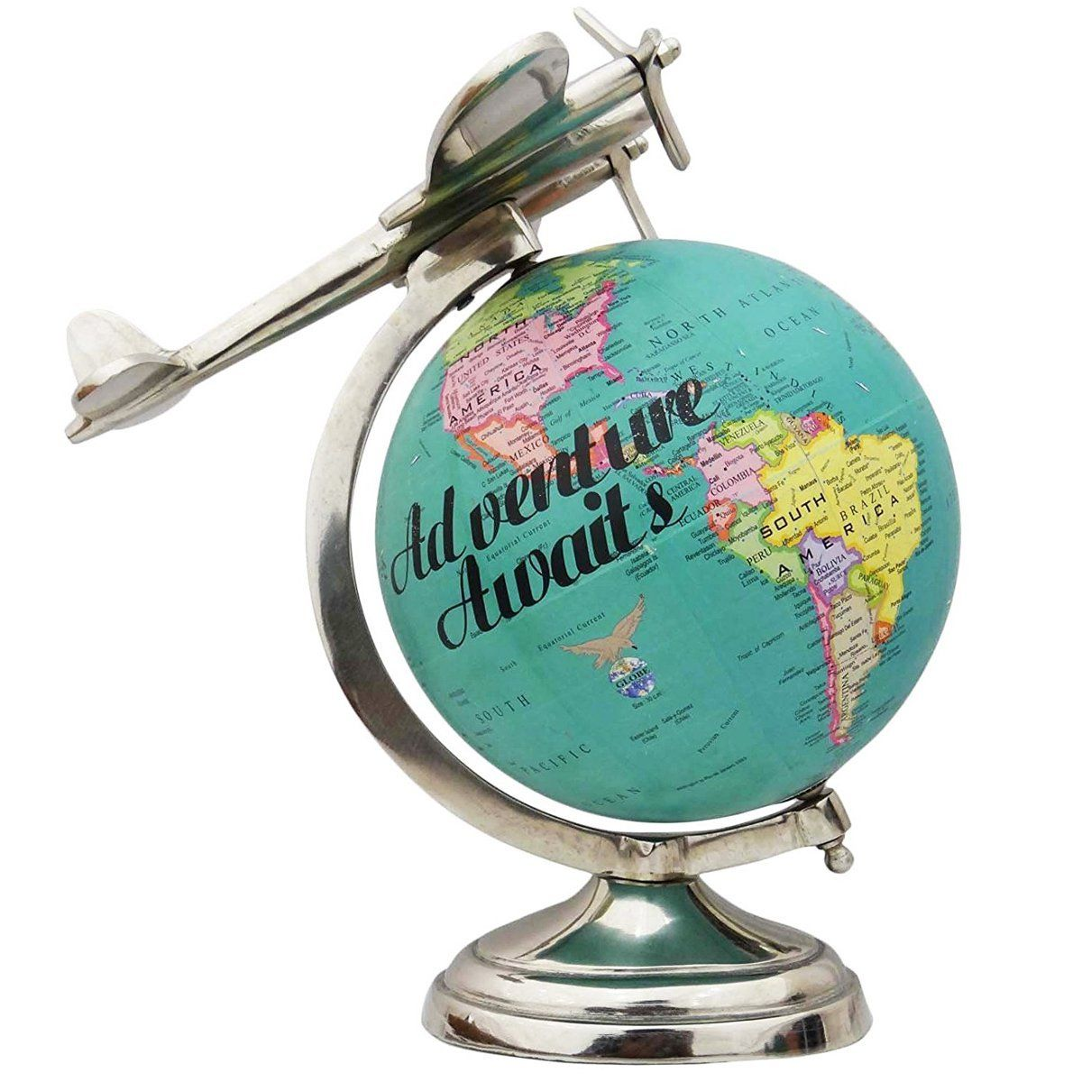 Amazon airplane globe hand made airplane iron metal base desktop unique design rotating globe world green ocean earth table decor gumiabroncs Image collections