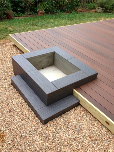 Neat idea! Modern Platform Deck and Fire Pit Design - how