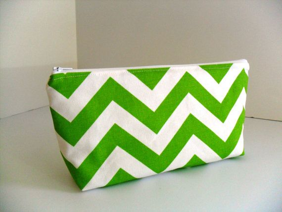 Green+and+White+Chevron+Large+Makeup+Bag+/+Gadget+/+by+fromnancy,+$15.00