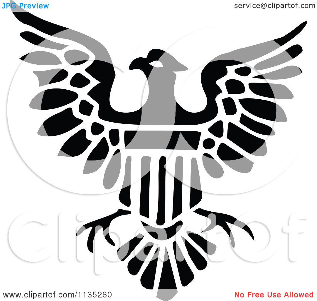Clipart Of A Retro Vintage Black And White Shield Eagle Icon ...