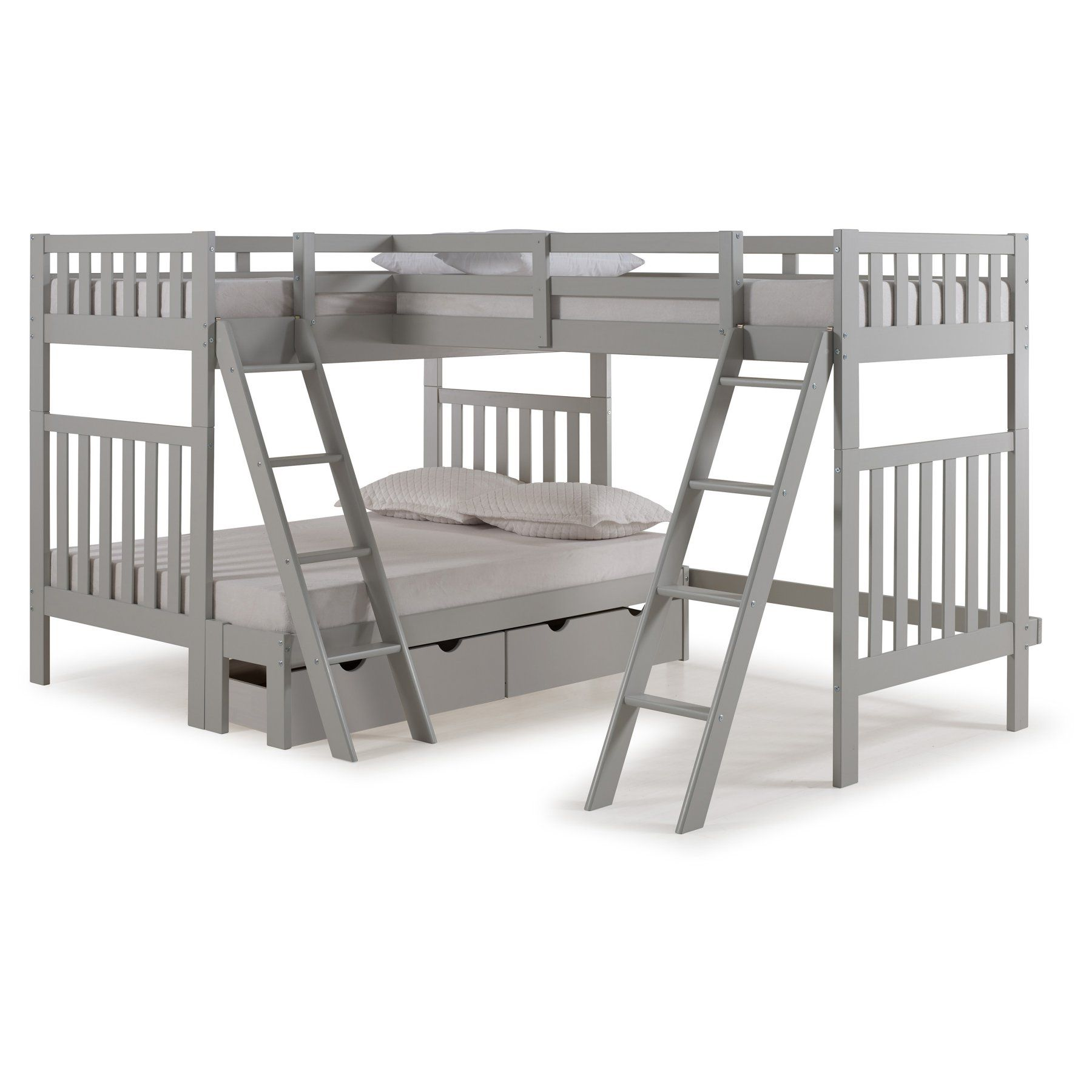 . Alaterre Aurora Twin Over Full Bunk Bed with Third Bunk Extension