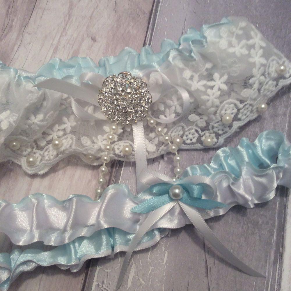 Blue Wedding Garter Uk: ️wedding Garter Set Toss Throw White Lace Rhinestone