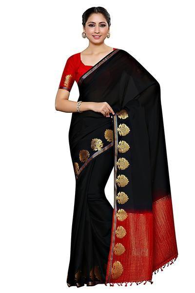 8e16bb6c94 Shop now the latest saree on ladyindia.com Black Plain Crepe Sarees With  Golden Paisly