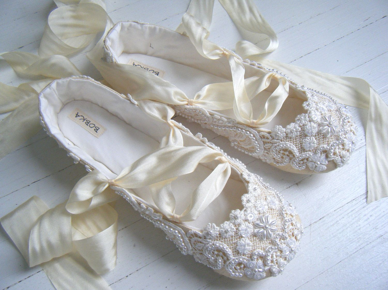 86585cfaa22 Champagne Wedding Ballet Shoes