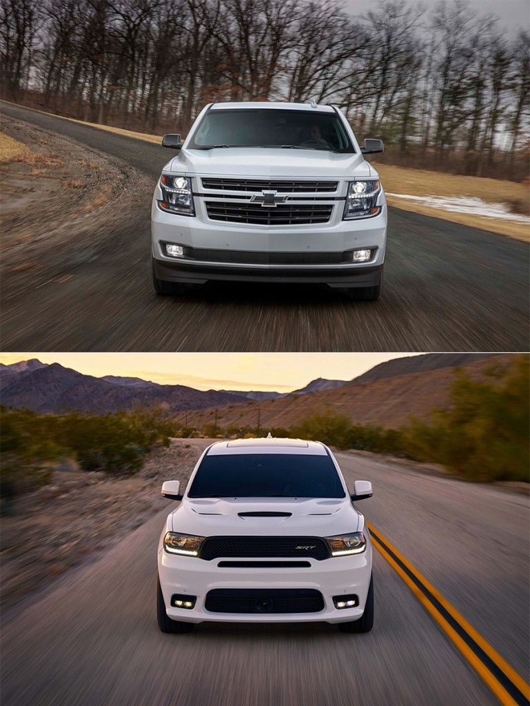 Head to head 2018 dodge durango srt v chevy tahoe rst