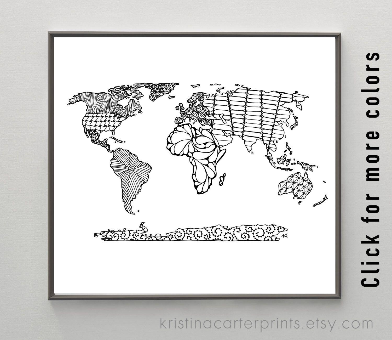 World map art print zentangle drawing digital travel art globe world map art print zentangle drawing digital travel art globe instant download printable modern wall art nursery decor ink sketch gumiabroncs Images