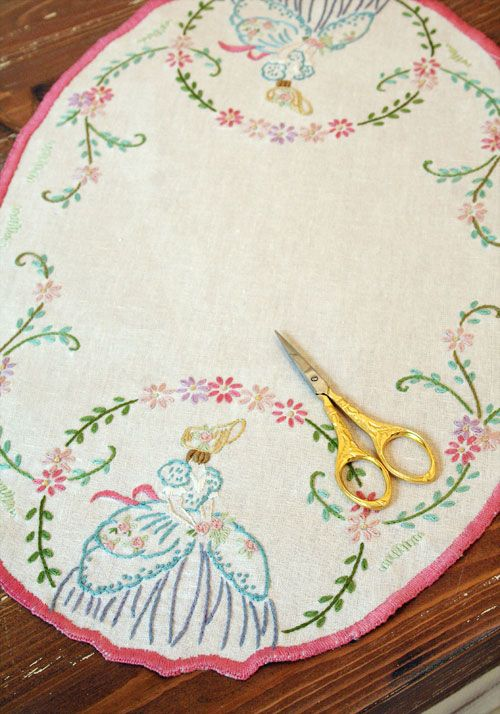 Crinoline lady embroidery runner | My Great Grandmother always had ...