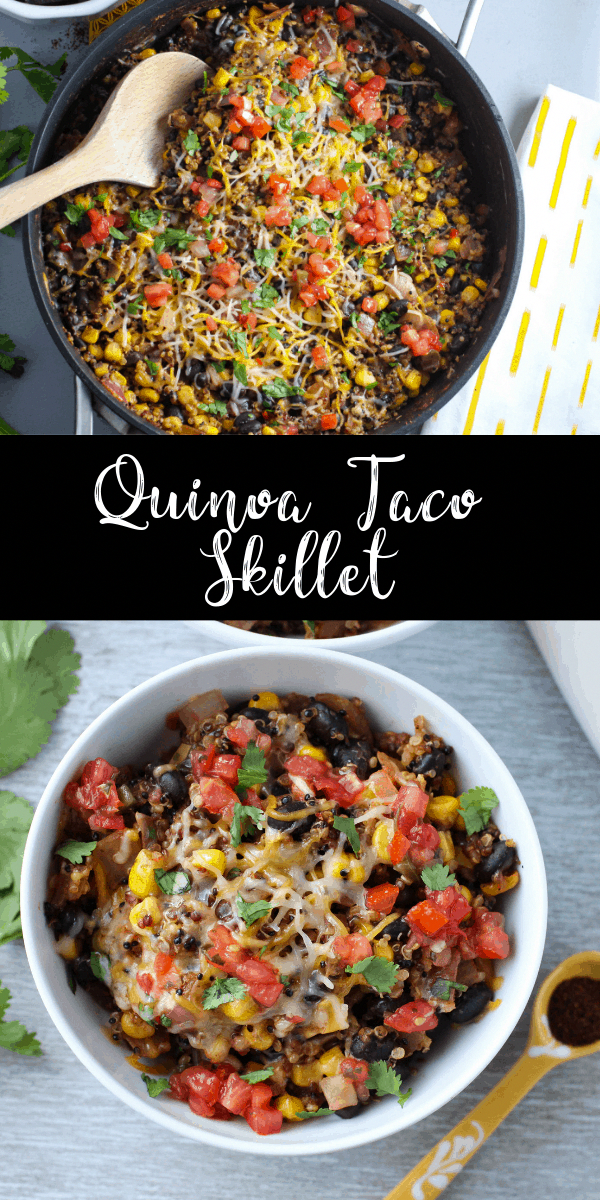 This enchilada skillet is loaded with veggies and tons of spices. It's a light and healthy one pan