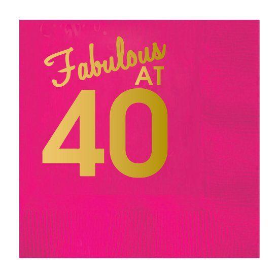 Fabulous At 40 - Bright Pink Beverage Napkin