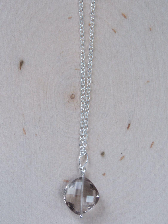 Quartz Necklace: Wire Wrapped Quartz Necklace, Quartz Pendant on Sterling Silver Chain, Quartz Jewelry, Clear Crystal Quartz, Quartz by MalieCreations on Etsy