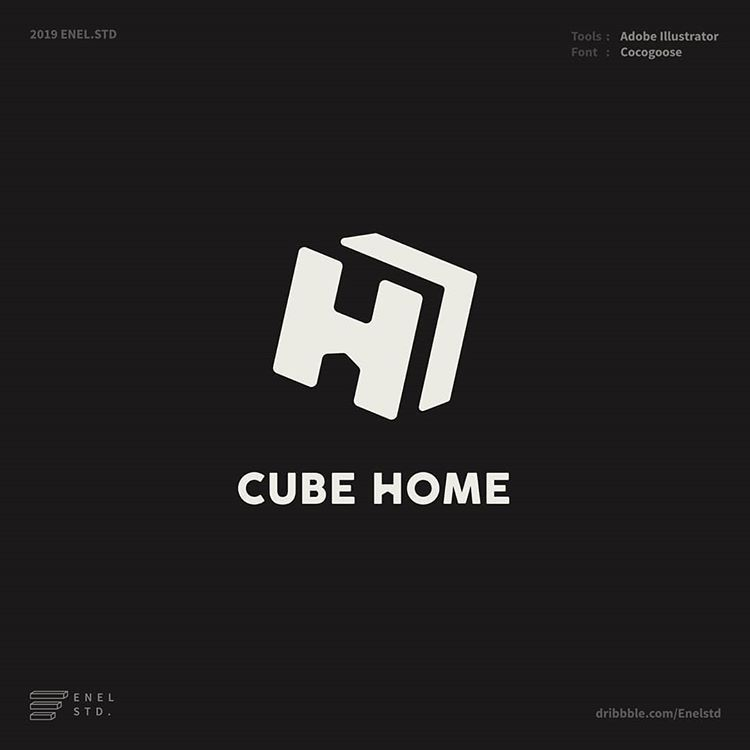 Enel Std On Instagram Cube Home Logo Design Can You See A Home Icon In This Logo Available For Commision Work Hafizcreative Id Gmail Com Home Di 2020