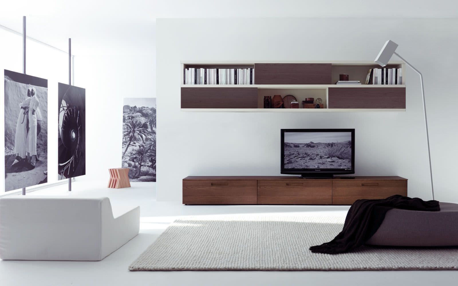 Beau Appeliang Brown Television Wall Cabinet Design Idea With Black Television,  White Wall, And White
