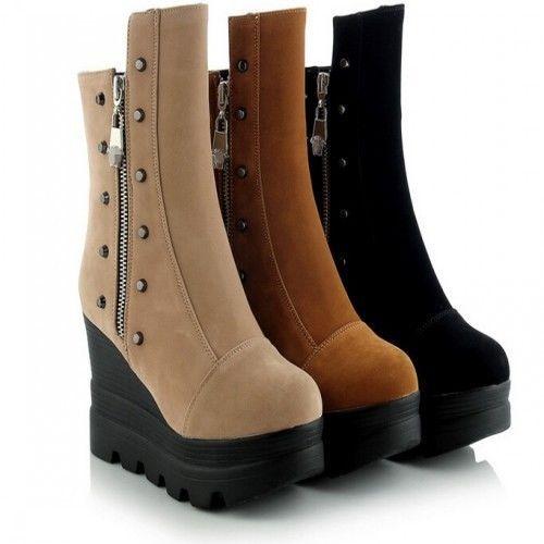 New Fashion Women High Top Platform Side Zipper Rivet Wedges Flat Casual Shoes #Unbranded #FashionAnkle