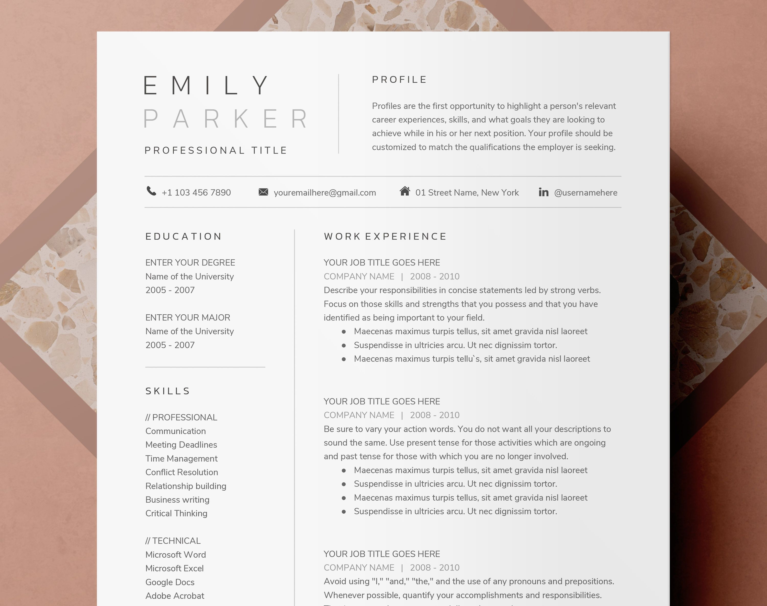 Modern Google Docs Word Pages Resume Template Cover Etsy In 2021 Resume Template Resume Template Word Resume