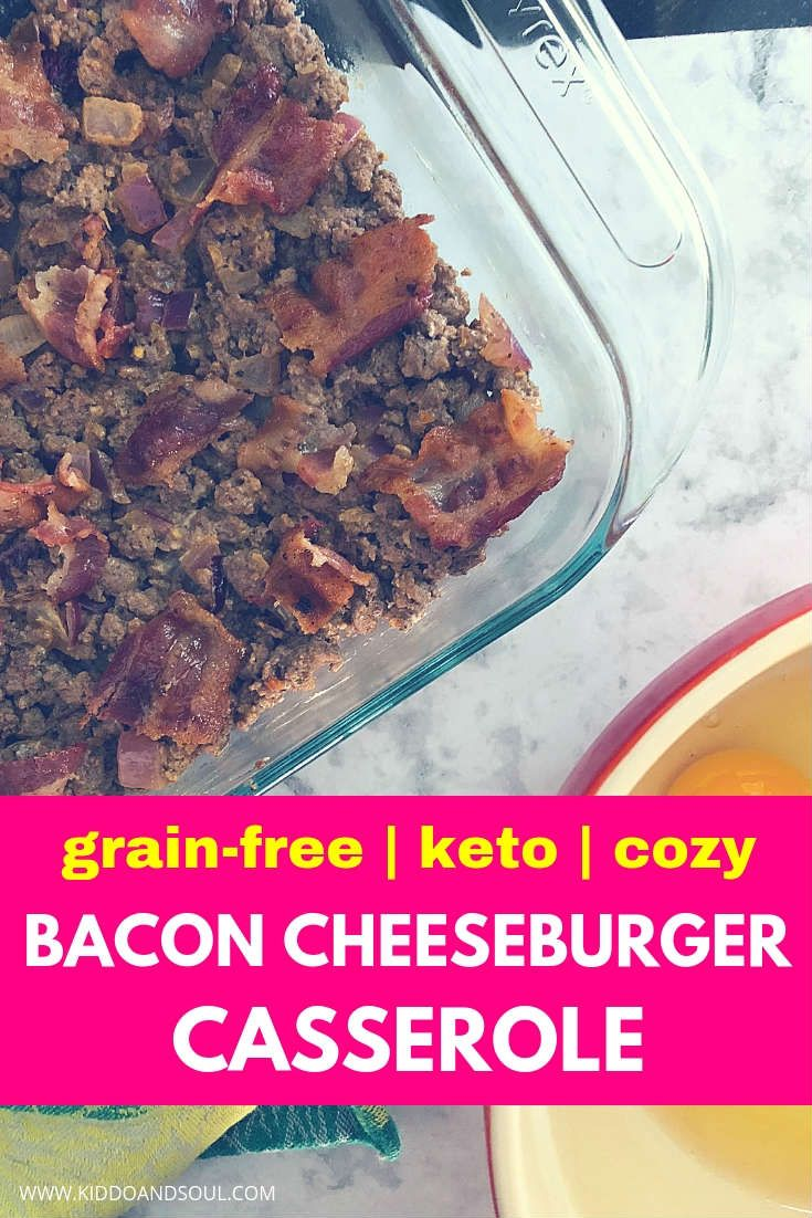 If you love bacon, this cheeseburger casserole is going to win you over.  It's grain free, sugar-free and keto friendly.  Perfect for LCHF eaters and totally delish.  #cheeseburgercasserole #baconcheeseburger #casserole #bacon #keto #ketorecipe #ketocasserole #ketodiet #cheeseburger #casseroles #lowcarb #easy #lchf #cheese #recipe