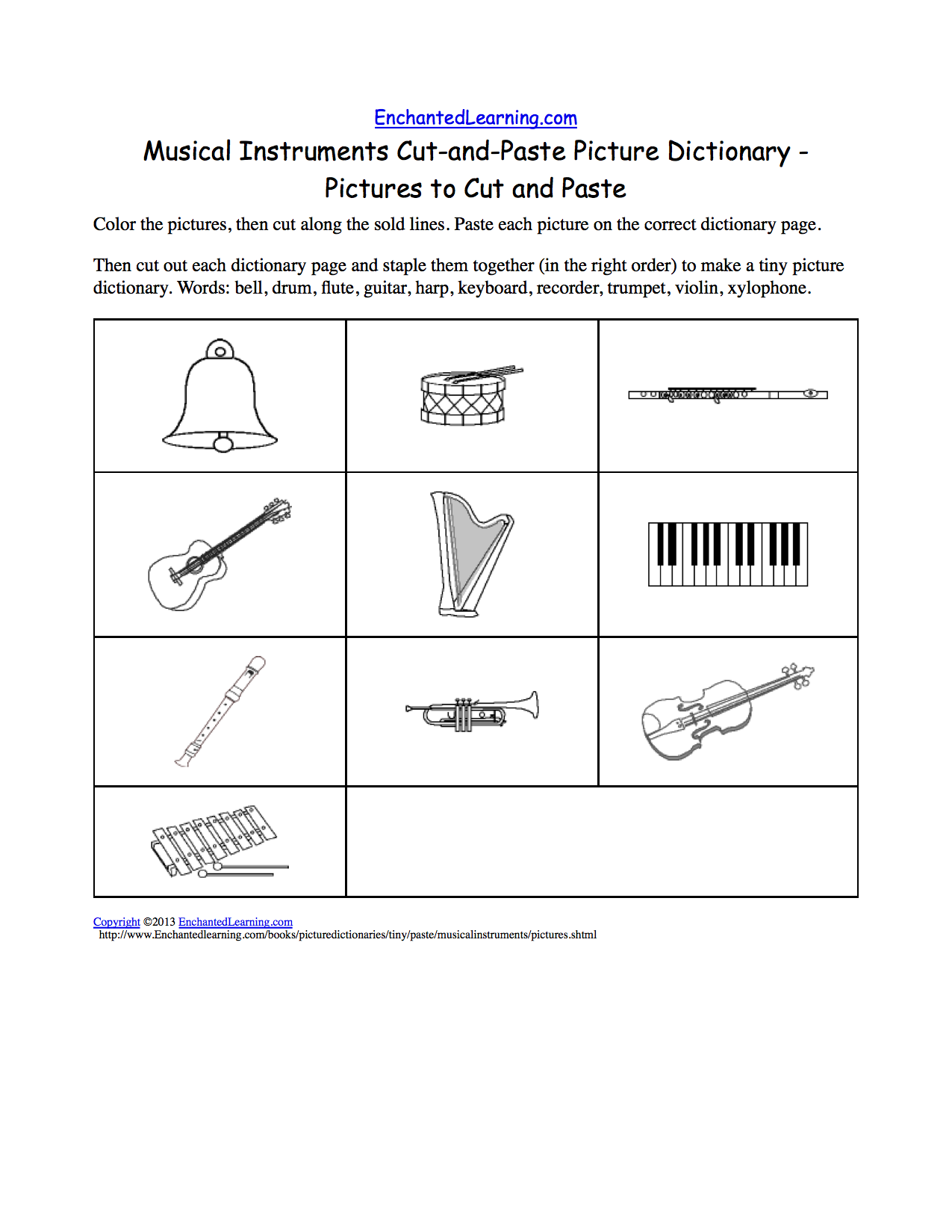 musical instruments cut and paste picture dictionary a short book to print enchantedlearning. Black Bedroom Furniture Sets. Home Design Ideas