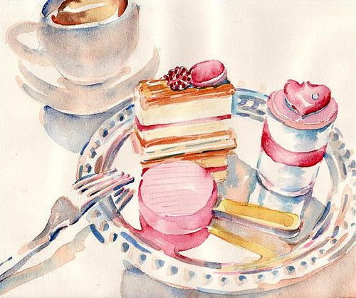 Art Breakfast Cake Coffee Hearts Illustration Paris