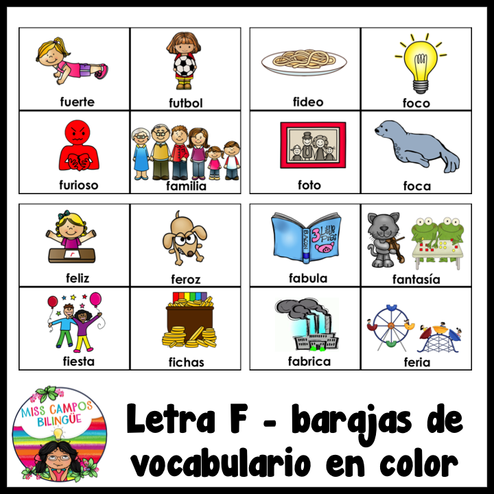 Letra F Silabas Fa Fe Fi Fo Fu Mi Español Letra F Silabas Y