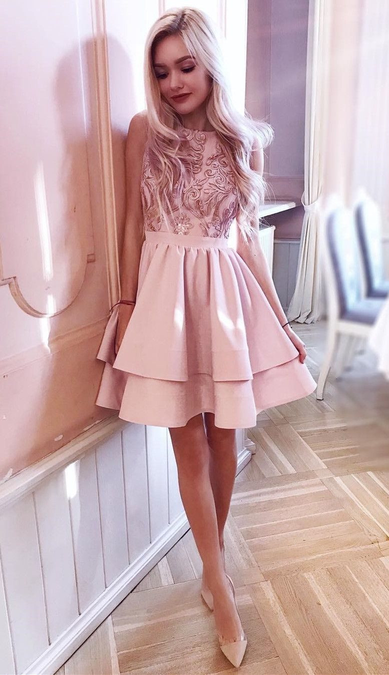 Aline round neck tiered pink dress with lace
