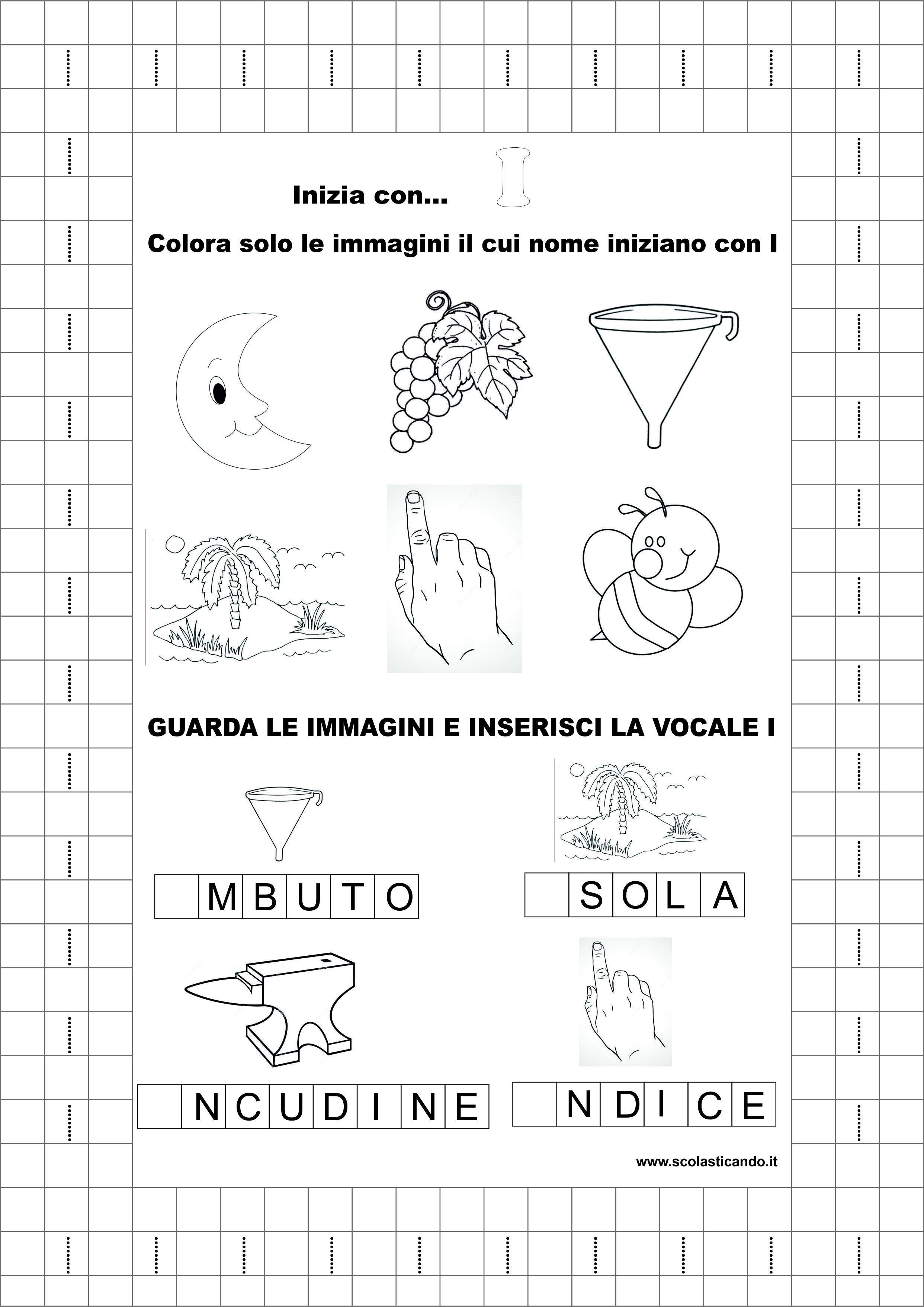 Classe Prima Italiano La Vocale I Schede Didattiche Da Scaricare