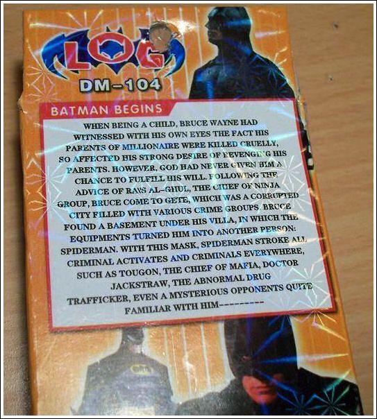 Batman Begins: Chinese Bootleg DVD Synopsis [WTF | Geek