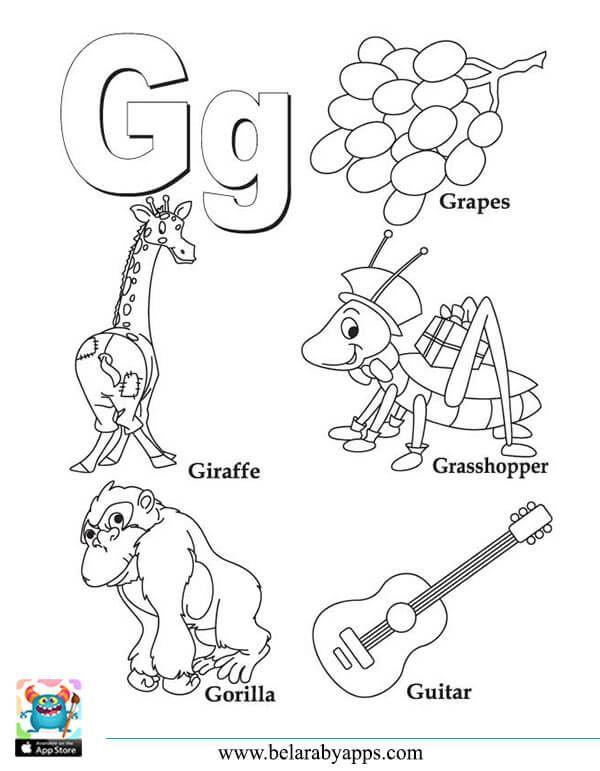 اوراق عمل تعليم الحروف الانجليزية مع الكلمات للتلوين و الطباعة بالعربي نتعلم Alphabet Coloring Pages Alphabet Coloring Preschool Letters